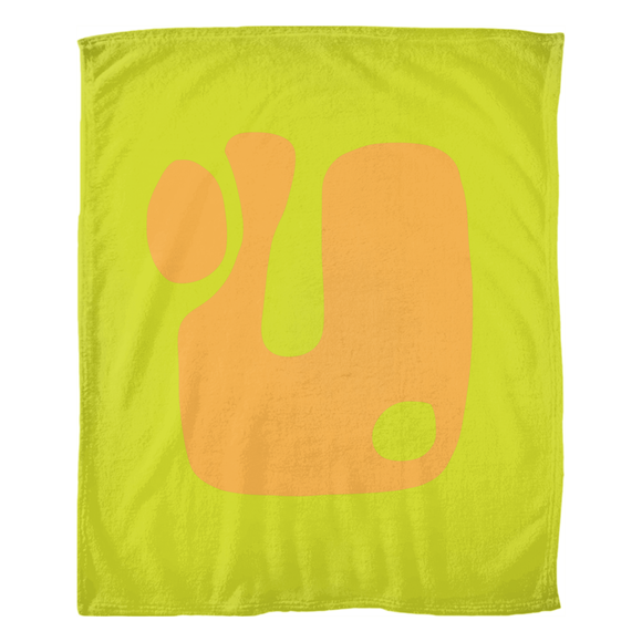Modern Orange on Green / Fleece Blanket