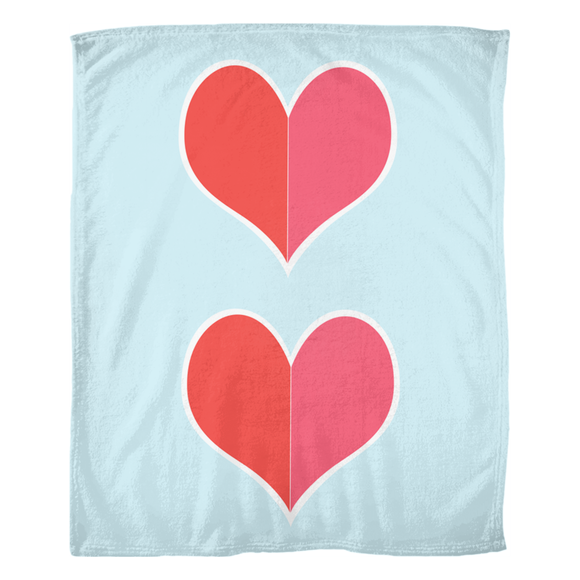 Two Big Hearts / Red / Fleece Blanket