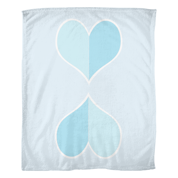 Two Big Hearts / Blue / Fleece Blanket