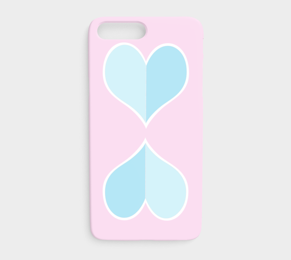 Two Big Hearts / Blue / iPhone Case / iPhone 7 Plus / 8 Plus