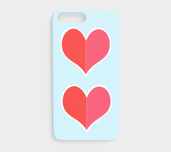 Two Big Hearts / Red / iPhone Case / iPhone 7 plus / 8 plus