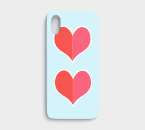 Two Big Hearts / Red / iPhone Case / X / XS