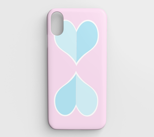 Two Big Hearts / Pink + Blue / iPhone Case / XS Max