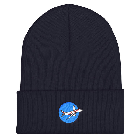 The Airliner / Embroidered Cuffed Beanie