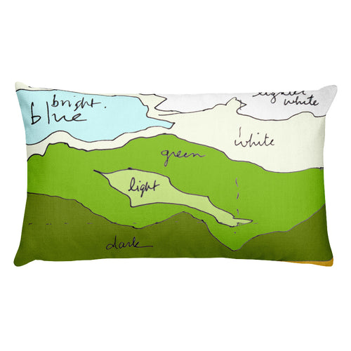 Landscape Colour Sketch / Rectangular Stuffed Pillow