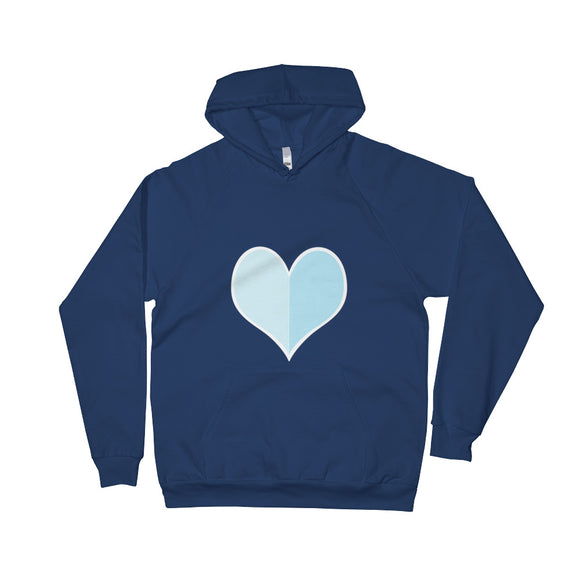 The Big Heart / Blue / Unisex Fleece Hoodie with Pocket