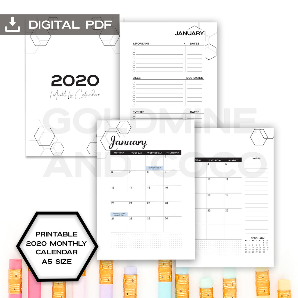2020 Monthly Calendar Planner Inserts