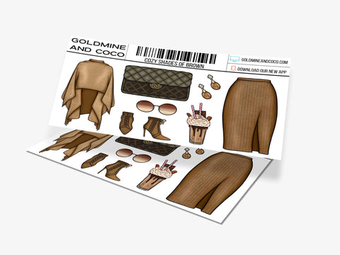 Cozy Shades of Brown Sticker Set