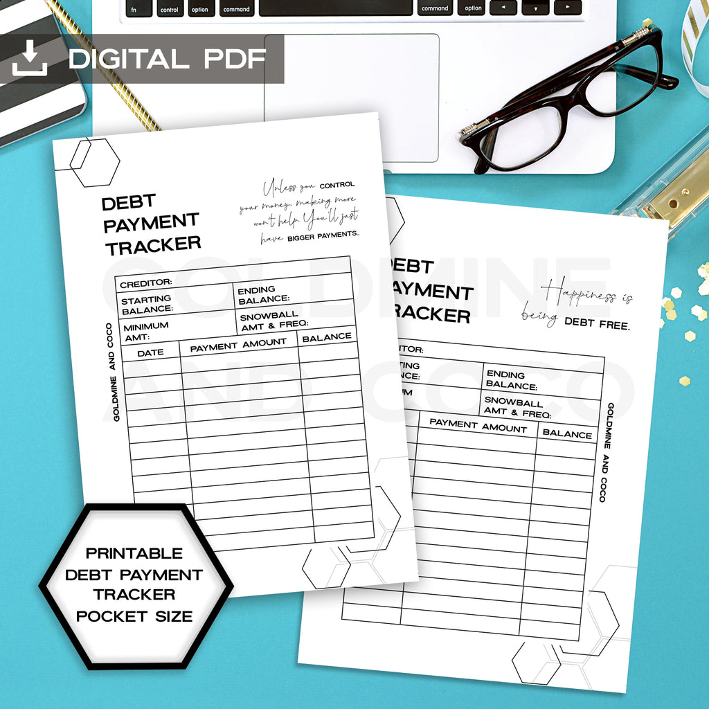 Debt payment tracker planner inserts