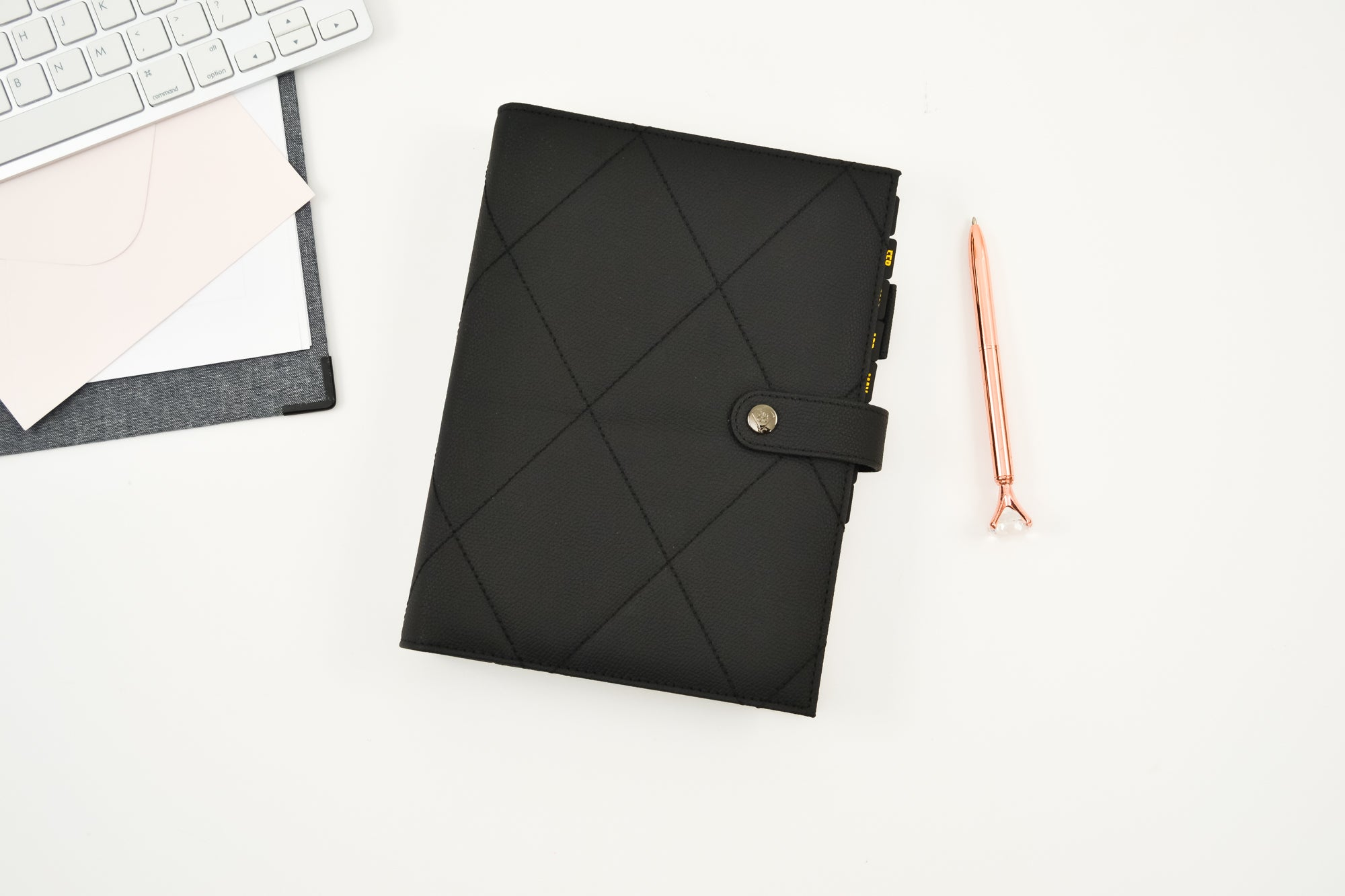 A5 Black Diamond Quilted Vegan Rings Agenda Cover