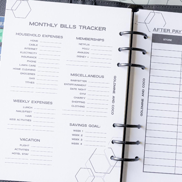 Monthly Bills Tracker Planner Inserts