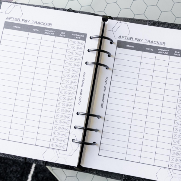 Afterpay Tracker Planner Inserts