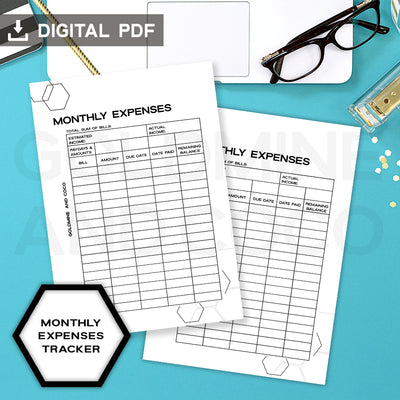 Monthly Expenses Insert