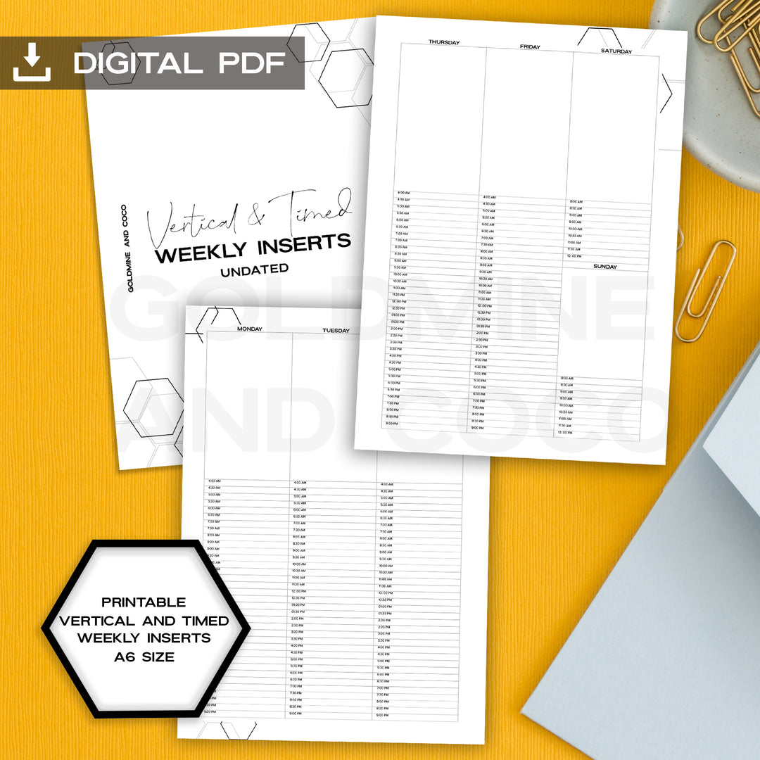 vertical and timed weekly inserts