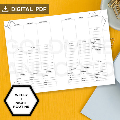 Weekly + Night Routine Digital Inserts