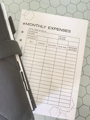 Monthly Expenses Planner Inserts