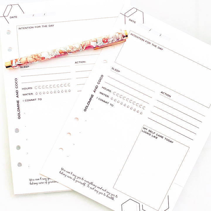 self care tracker planner inserts