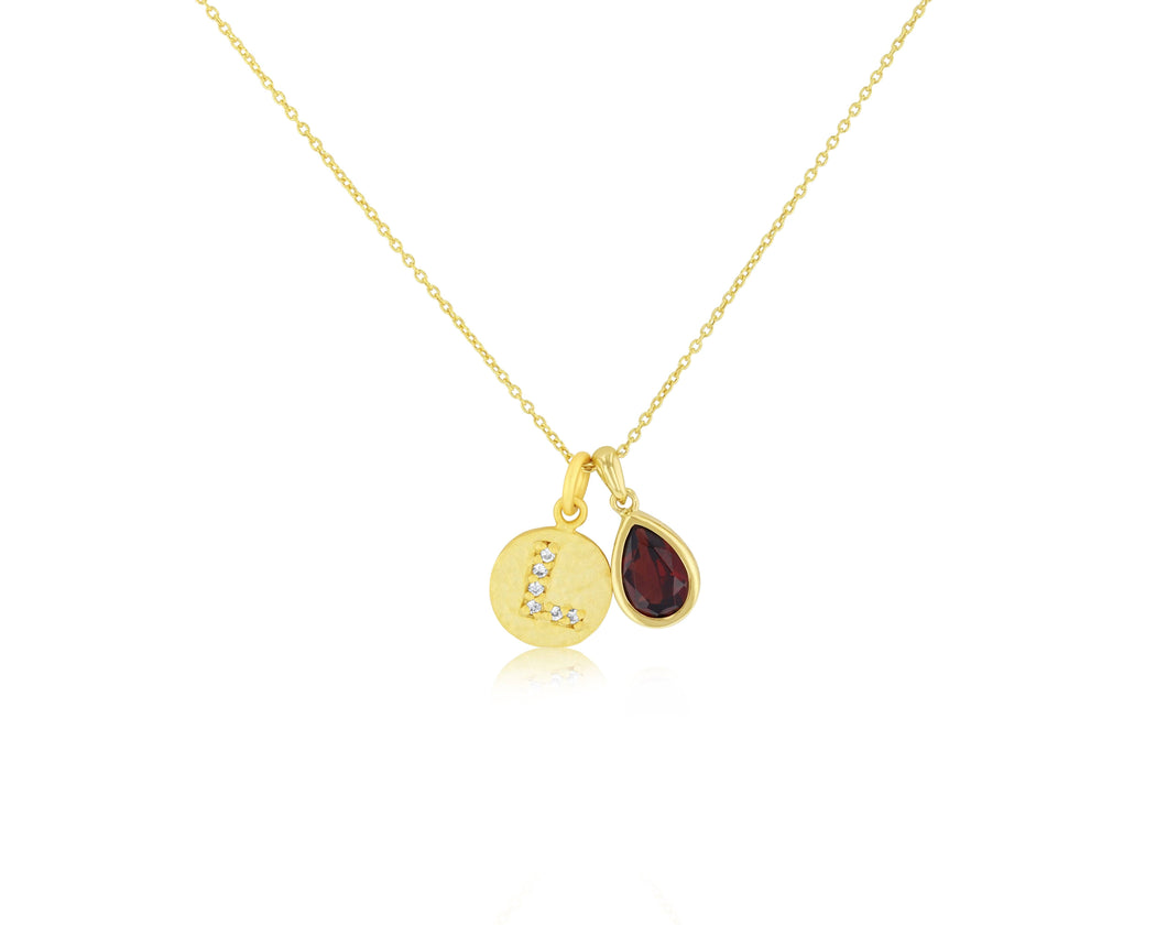Initial Pendant Necklace with Gems
