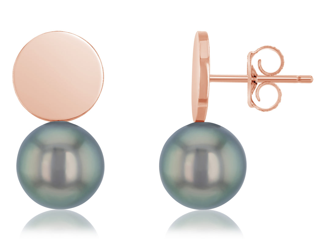 Moon Disc Tahitian Pearl Stud Earrings