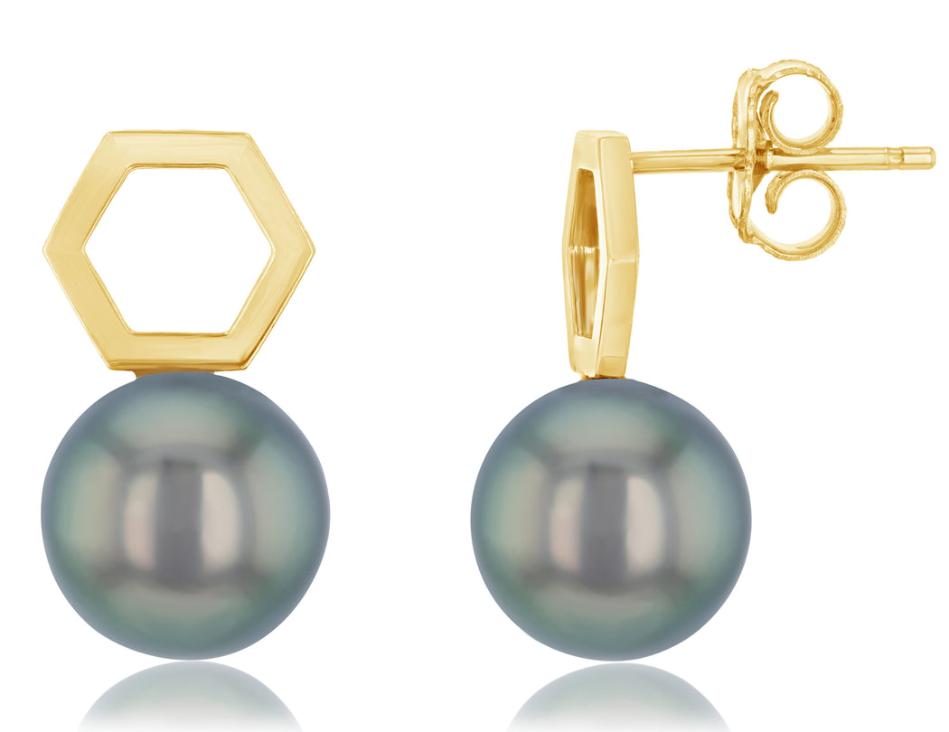 Hexi Tahitian Pearl Stud Earrings