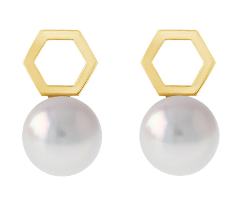 Hexi Akoya Pearl Stud Earrings