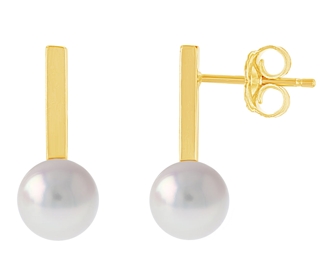 Short Bar Akoya Stud Earrings