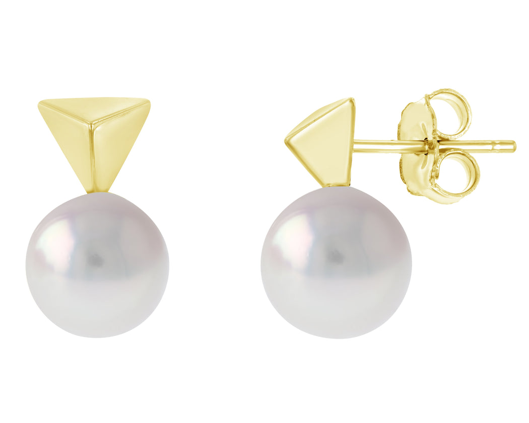 Pyramid Akoya Pearl Stud Earrings