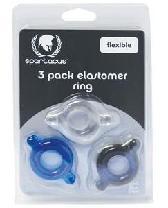 Spartacus Elastomer Cock Ring Set - Black, Blue & Clear Pack of 3