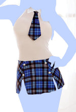 2 pc Stretch Mesh Schoolgirl Chemise w/Atched Tie, Bck Velcro Clsure, & Atached Skrt Blue Plad O/S
