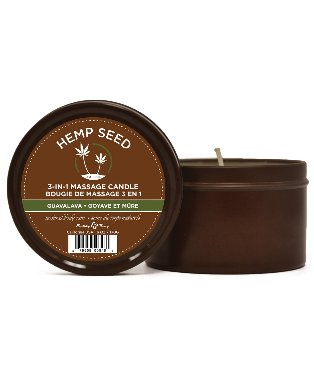 Earthly Body Suntouched Hemp Candle - 6 oz Round Tin Guavalava