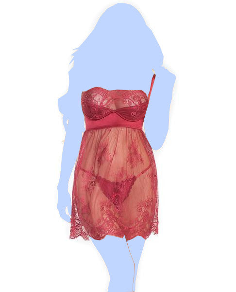 Lightly Padded Demi Cup & Fine Lace Skirt Babydoll & Adjustable Crotchless Panty - Merlot