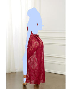 Holiday Lace Gown & G-String - Garnet