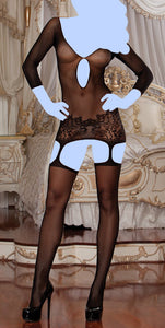 Fishnet Garter Dress w/Lace Hem & Attached Thigh Highs (Thong Not Included) Black O/S