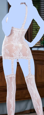 Floral Stretch Lace Halter Dress w/Attached Garters & Thigh High Stockings White O/S
