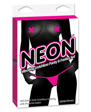 Neon Luv Touch Vibrating Crotchless Panties & Pastie - Pink