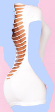 Pink Lipstick Slinky Seamless Mini Dress w/Super Sexy Back Slits (Black Light) - White