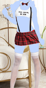 6 pc Talk Nerdy to Me Top, Pleated Skirt w/Adjustable Suspenders, Thong, Tie & Glasses Plaid O/S