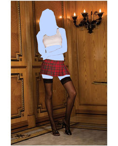 Rene rofe school girl mini skirt plaid red