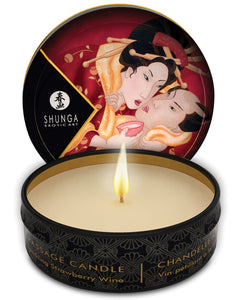 Shunga Romance Mini Candlelight Massage Candle - 1 oz Sparkling Strawberry Wine