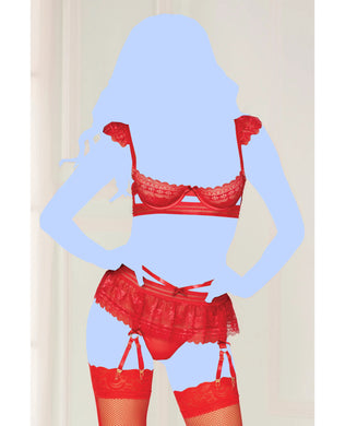 Floral Galloon Lace Flutter Sleeve Bra, Skirt w/Double Garter Feature & Thong - Red