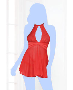 Valentines Lace Mesh Babydoll w/Strappy Waist & Panty w/Criss Cross Waistband - Red