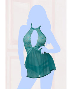Lace Mesh Babydoll w/Strappy Waist & Panty w/Criss Cross Waistband - Teal