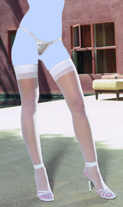 Sheer Thigh Highs w/Back Seam White O/S