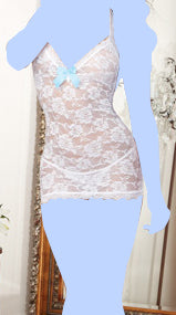 Stretch Lace T-Back Chemise w/Pearl Strand Accent & Lace Thong White O/S