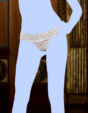 Stretch Lace Thong w/Stretch Lace Waistband White O/S