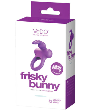 VeDO Frisky Bunny Rechargeable Vibrating Ring - Perfectly Purple