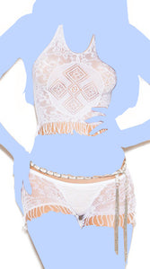 Vivace Crochet Cami Top & Matching Booty Shorts w/Fringe Trim White O/S
