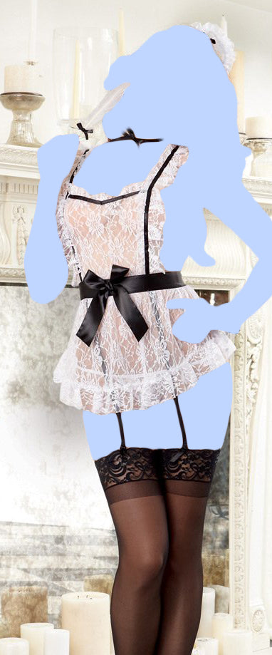 4 pc Lace Apron w/Attached Elastic Garters, G-String, Cap, Neck Ribbon & Tickler - Black/White O/S