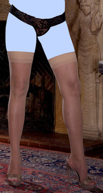 Sheer Thigh Highs w/Back Seam Nude QN