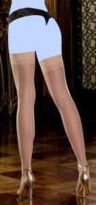 Sheer Thigh Highs w/Back Seam Nude O/S